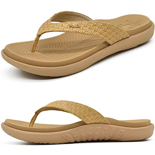 KuaiLu Beis Chanclas Mujer Verano Playa Sandalias de piscina Apoyo de Arco Ortopedicas Chanclas Zapatos Cómodos para Caminar Antideslizante Talla 42EU