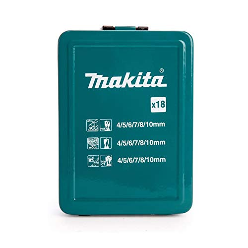 Makita D-47173 18Pc Mixed Drill Set Metal Box, Blue/Black/Silver