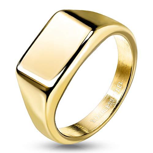 Paula & Fritz® Ring Damen Siegelring Rechteck Gold 316L Chirurgenstahl Größe 52 (16,6) Freundschafts-Ring Herren-Ring Partner-Ring Biker-Ring Damen-Ring