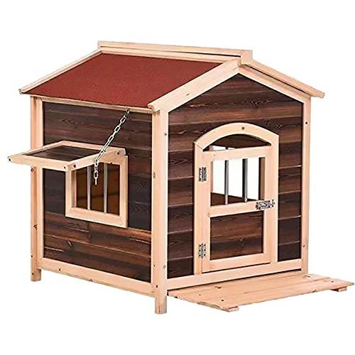 JINGH Classic Outdoor Wood Doghouse de tamaño Grande y Mediano, a Prueba de Viento y a Prueba de Lluvia, fácil de Limpiar (Color : A, Size : 65x65x55cm)