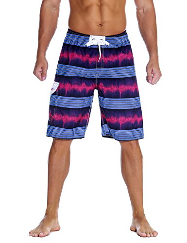 Nonwe Men's Swimwear Quick Dry Holiday Drawstring Striped Board Shorts Purple 40