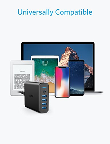 USB C Wall Charger, Anker Premium 60W 5-Port Desktop Charger with One 30W Power Delivery Port for MacBook Air 2018, Ipad Pro 2018, S10, and 4 Poweriq Ports for iPhone Xs/Max/XR/X/8, S9/S8 and More