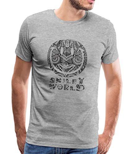 Spreadshirt Smiley World Polynésie Tatouage Maori T-Shirt Premium Homme, XL, Gris chiné