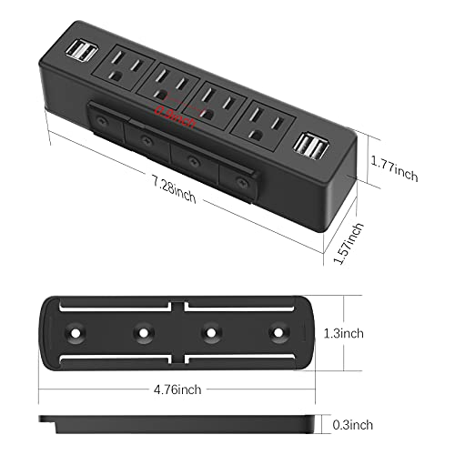 Under Desk Power Strip, Adhesive Wall Mount Power Strip with USB, Black Desktop Power Outlets, Removable Mount Multi-Outlets with 4 USB Ports, Power Socket Connect 4 Plugs for Home Office Reading