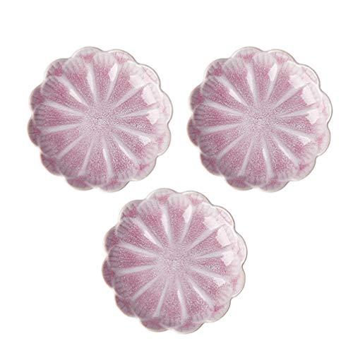 Amosfun 3 stücke keramik sauce gerichte mini blume form gewürz gerichte sushi tauchschüssel untertassen schüssel vorspeise platten (rosa)