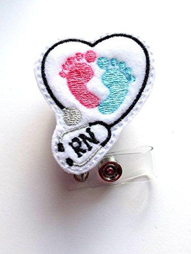RN Heart Baby Feet - Retractable ID Badge Reel - MD Badge Holder - Cute Badge Reel - Nurse Badge Holder - Nursing Badge Clip - Felt Badge- Belt Slide Clip