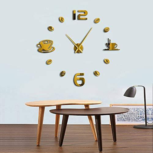 HWADMW 1pc DIY Coffee Design Large Numer Wall Clock Modern Design Coffee Bean Giant Wall Clock 3D Mirror Sticker DIY Huge Wall Watch 27inch Gold