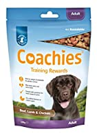 The ideal training treat! Coachies treats are low-calorie and oven-baked, making them the perfect treat for training your pet Highly palatable, Coachies treats are made with Beef, Chicken & Lamb for added variety and excitement, keeping dogs motivate...