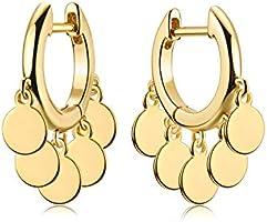 Fettero Gold Huggie Hoop Earrings Star Cross Tassel Dangle Drop Sleeper 14K Gold Plated Dainty Minimalist Simple Boho...