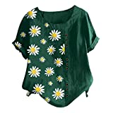 Holzkary Women's Fashion Printed T-Shirt Casual Loose O-Neck Short Sleeve Tops Blouse Plus Size(L.Army Green-1)