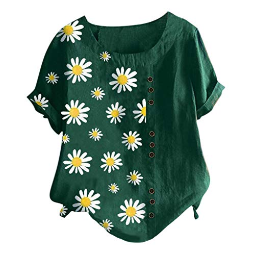 Kenmeko Camicetta Donna Blusa Maglia Elegante e Casual Camicetta a Maniche Corte in t-Shirt con Scollo a V Manica Corta con Stampa Floreale (M,4Army Green)