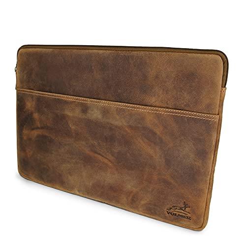 Fa.Volmer Echtleder Laptoptasche - Büffelleder - braun - mit Reißverschluss - 13,3 Zoll - gepolstert - für MacBook, Microsoft Surface und viele mehr