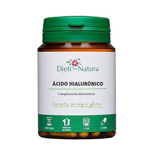 Ácido Hialurónico 60 Cápsulas de Dieti Natura. Con Colágeno marino y Vitamina C y E [Fabricado en Francia][Garantía sin OGM ni Gluten]