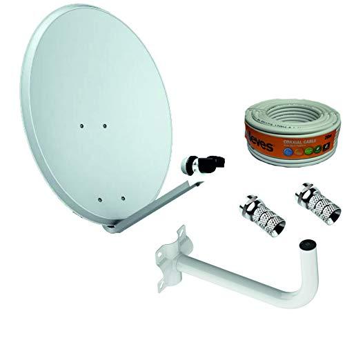 Kit Parabolische Antenne, Edelstahl, 65 cm, Marke Tecatel + Wandhalterung + Rolle 20 m Televes + LNB Universal