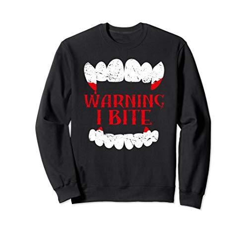 Halloween Vampire Design Warning I Bite Scary Vampire Funny Sweatshirt
