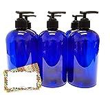 ljdeals 16 oz Cobalt Blue Plastic Bottle with Black Lotion Pump, Pack of 6, BPA Free, Made in USA, Bonus 6 waterproof Labels