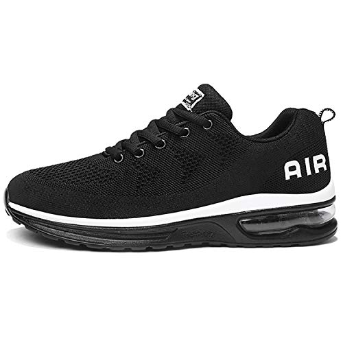 AMAXM Mens Athletic Air Running Shoes Breathable Tennis Lightweight Jogging Gym Sneakers (Black US 10.5 D(M)