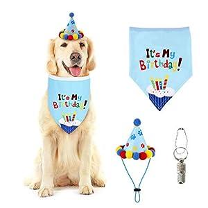 MILMUMU Dog Birthday Bandana Scarfs,Adorable Doggie Birthday Party Hat,Dog Birthday Bandana Triangle Bibs Scarf Accessories,Dog Birthday Bandana Kit for Pet Birthday Party Supplies