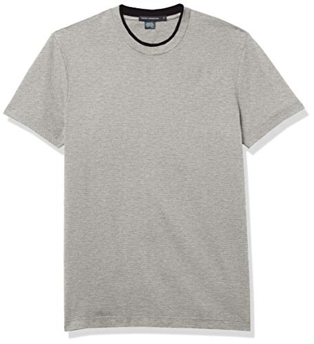 French Connection Men's Waffle Jersey Tee, Light Gray Melange/Utility Blue, S