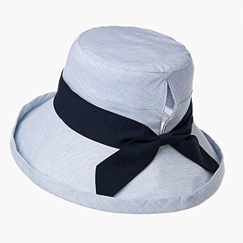 Summer Lady Sun Hat Version Coréenne Chapeau De Pêcheur Anti-UV Grand Écran Solaire Ombre Pliante Mawei Cave Design ZHAOYONGLI (Couleur : Bleu, taille : Large Size (60CM))