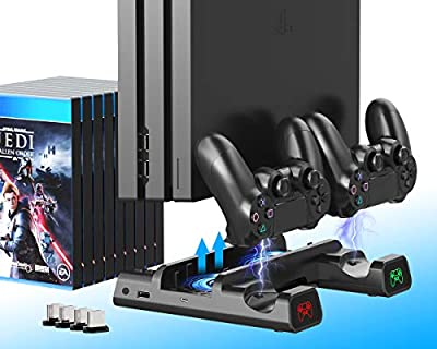 ElecGear Playstation 4 Vertical Stand and Cooling Fan, Dual Charging Station for DualShock 4 Controller Charger Dock with 4X Mini Dongle, 10x Games Storage Bracket for PS4, PS4 Pro and PS4 Slim