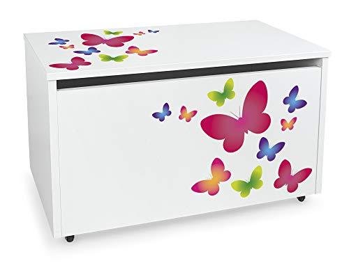 Leomark XXL Contenitore portagiochi in legno, Grande baule per giocattoli, panca su ruote, scatola con coperchio, cassapanca per bambini, dimensioni: 71 cm x 40,5 cm x 45 cm (LxPxA) (Farfalle)