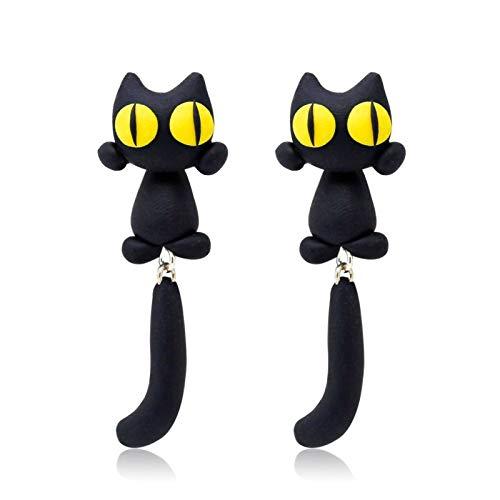 ZNXHNDSH 30 Marca arcilla del polímero de los ojos de gato amarillos del perno prisionero animal de la historieta pendientes pendientes for las mujeres de la muchacha de la joyería del oído Brincos