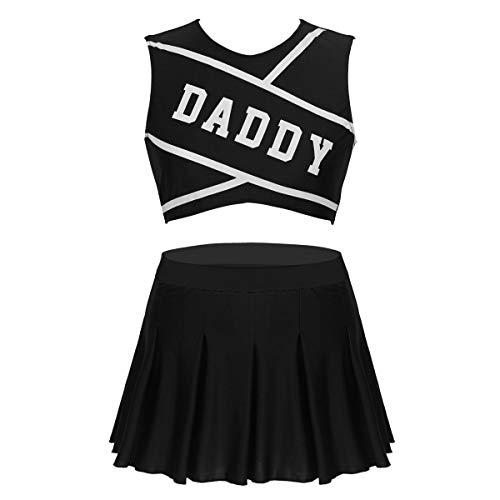 ranrann Costume Uniforme de Animadora para Mujer Adulto Disfraz Cosplay de Porrista Cheerleading Tenis Fútbol Crop Top + Falda Plisada para Fiesta Chica Negro Medium