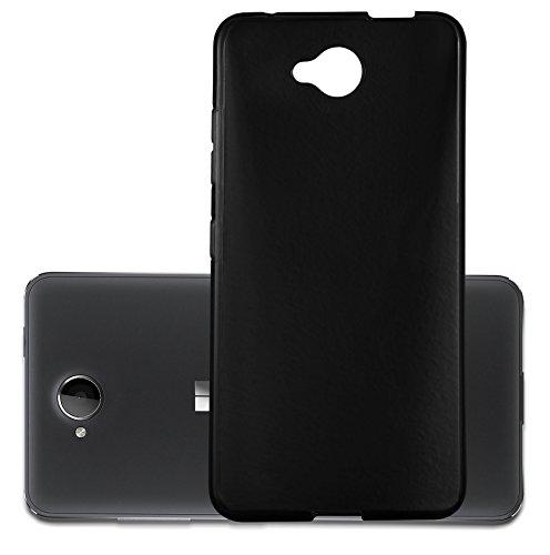 Cadorabo Hülle für Nokia Lumia 650 - Hülle in SCHWARZ – Handyhülle aus TPU Silikon im Ultra Slim 'AIR' Design - Silikonhülle Schutzhülle Soft Back Cover Case Bumper