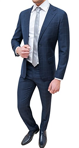 Evoga Abito Completo Uomo Sartoriale Blu Quadri Smoking Vestito Elegante Cerimonia (52, Blu)