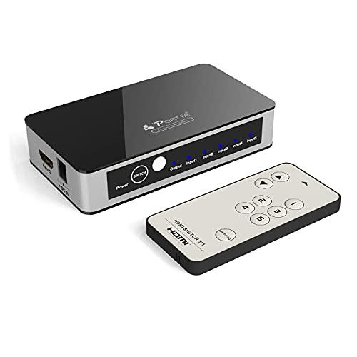 Porta Switch HDMI 4k@60H con telecomando switch hdmi automatico 5x1 porte hdmi switcher 18 gbps Supporta HDCP2.2 3D HDR CEC Dolby TrueHD 7.1 Supporta HDTV Apple TV/PS4/PS4 Pro/Xbox/Blu-ray DVD/STB/PC