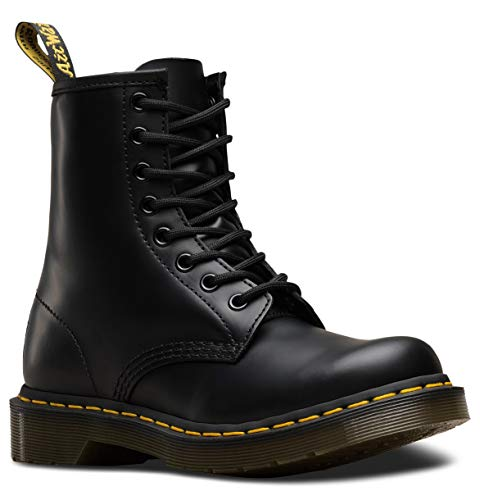 Dr. Martens Womens 1460W Originals Eight-Eye Lace-Up Boot, Black Smooth Leather, 9 M US/ 7 UK