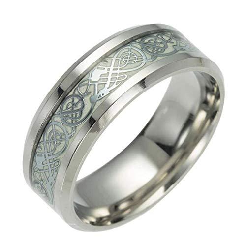 U/K NützlichWeinlese-leuchtender Drache-Entwurfs-Edelstahl-klassischer Band-Ring für die stilvollen und populären Männer-Frauen