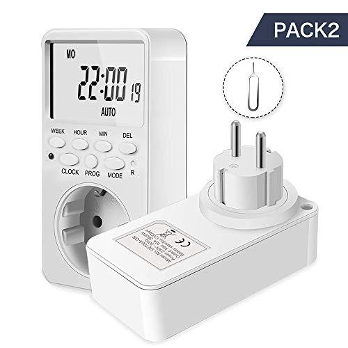Digitaler elektrischer Timer-Steckdose 24 Stunden / 7 Tage Timer-Stecker Programmierbarer Lichtschalter mit Anti-Diebstahl-Zufallsmodus und Countdown-Funktion (2er-Pack)