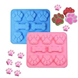 2 Pack Silicone Puppy treat molds, Dog Paw and Bone Mold Ice Cube Mold, Jelly, Biscuits, Chocolate, Candy Baking Mold, Oven Microwave Freezer Dishwasher Safe — Pink & Blue