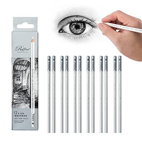 12 Piezas Lapiz Blanco para Dibujo,Lápiz de Carbón Blanco,Carboncillo para Dibujo Resaltar El diseño de Bosquejo
