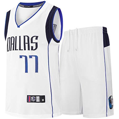 Z/A Dallas Mavericks Luka Doncic # 77 Formación De Los Estudiantes De New Jersey del Baloncesto De Verano Uniforme Uniforme del Baloncesto Bordado,Blanco,M
