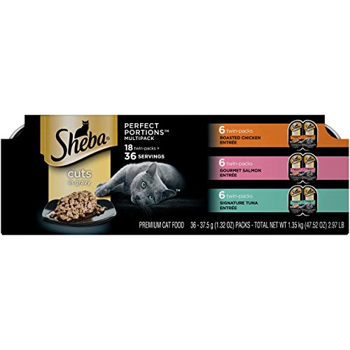 SHEBA PERFECT PORTIONS Multipack Cuts in Gravy Roasted Chicken, Gourmet Salmon, and Signature Tuna Entrée Wet Cat Food (18 Twin Packs) (36 servings)