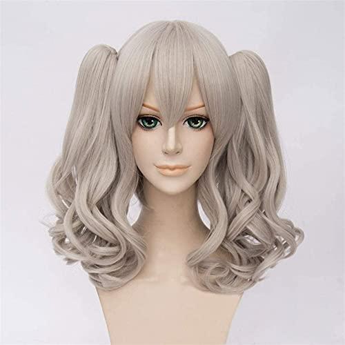 LCNING Peluca Pelucas Anime Dual Horsetail Cosplay Wig Woms Party Pelucas para la Fiesta Diaria (Color : Gray)