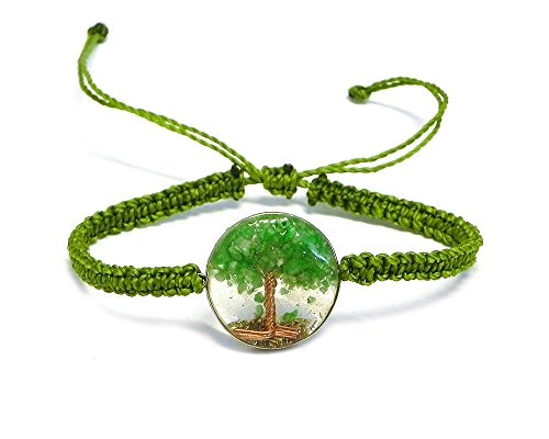 Mia Jewel Shop Tree of Life Crushed Chip Stone Round Acrylic Braided String Adjustable Pull Tie Bracelet (Lime Green)