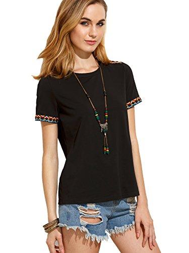 ROMWE - Camiseta - para mujer Negro Negro M