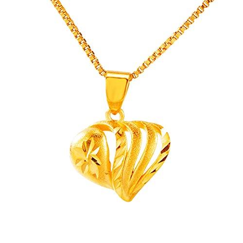SWAOOS 45 cm de Largo Cadena de eslabones corazón Tallado Hueco 24 K Oro corazón Colgante Collar para Mujeres Regalos