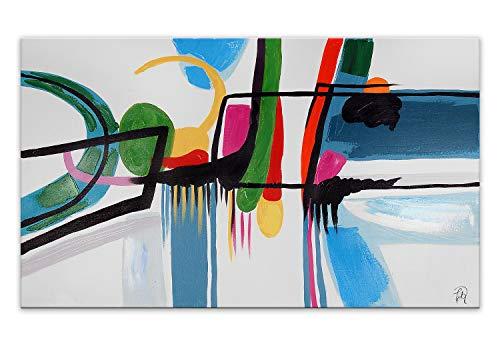 World Art TW60146 Ästhetischer Webstuhl aus Holz Abstrakt Bild Acryl Gemälde auf Leinwand von Hand Dekoriert, Holz, 70x120x3.5 Cm