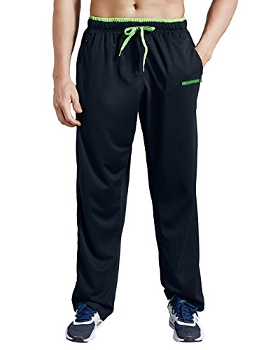ZENGVEE Athletic Men's Open Bottom Light Weight Jersey Sweatpant with Zipper Pockets for Workout, Gym, Running, Training (Black01,M)