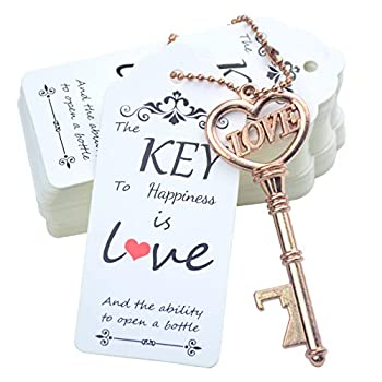Makhry 52pcs Vintage Skeleton Key Bottle Opener with Love Heart Escort Thank You Tags and Keychain as Wedding Favor for Wedding Guest Wedding Decor  Rose Gold