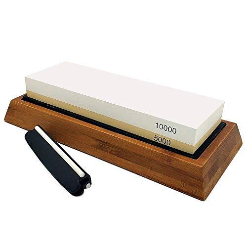 Schleifstein-Set,Doppelseitiger Messerschärfstein mit einer Körnung von 5000/10000 Profi-Spitzer für die Küche Messer, Scheren, Meißel, Rasierer,Rutschfeste Bambusbasis und Winkelführung