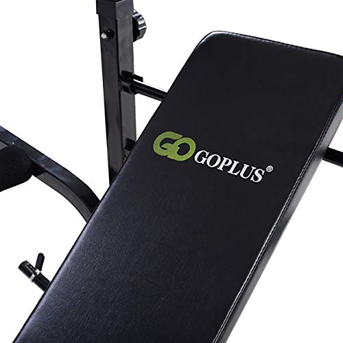 Goplus Olympic Weight Bench for Full Body Workout Exercise, Multifunctional Foldable Weight Lifting Flat, 6 Levels Adjustable Height, Weight Capacity 440lbs