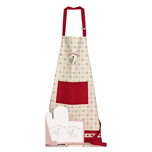 Winkler - Tablier de cuisine > – Blouse lavable 100% coton – Poche centrale - Sangle ajustable – Motif imprimé, style rustique