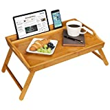 LapGear Media Bed Tray with Phone Holder - Fits up to 17.3 Inch Laptops and Most Tablets - Natural Bamboo - Style No. 78107
