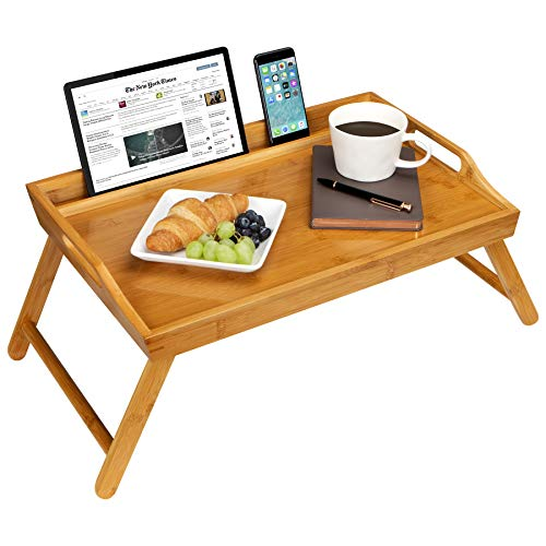 Rossie Home Media Bed Tray with Phone Holder - Fits up to 17.3 Inch Laptops and Most Tablets - Natural Bamboo - Style No. 78107